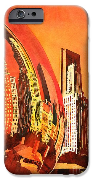 Park Scene Paintings iPhone Cases - Watercolor painting of downtown skyscrapers- Chicago iPhone Case by Ryan Fox