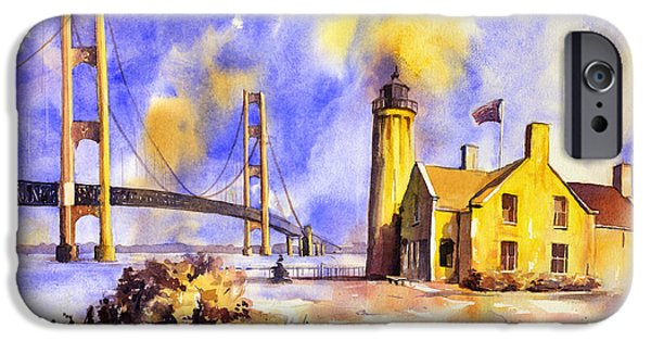 Chicago Paintings iPhone Cases - Watercolor painting of ligthouse on Mackinaw Island- Michigan iPhone Case by Ryan Fox