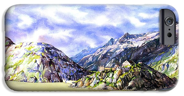 Switzerland Paintings iPhone Cases - Watercolor painting of Swiss Alps at Grimsel Pass Switzerland  iPhone Case by Ryan Fox