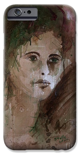 Cardboard Mixed Media iPhone Cases - Watercolor Portrait iPhone Case by Stella Levi