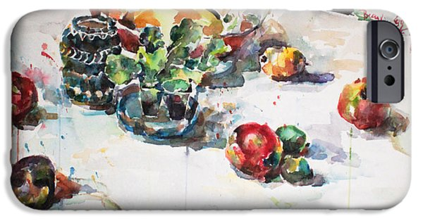 Becky Kim Paintings iPhone Cases - Watercolor Still Life in April iPhone Case by Becky Kim