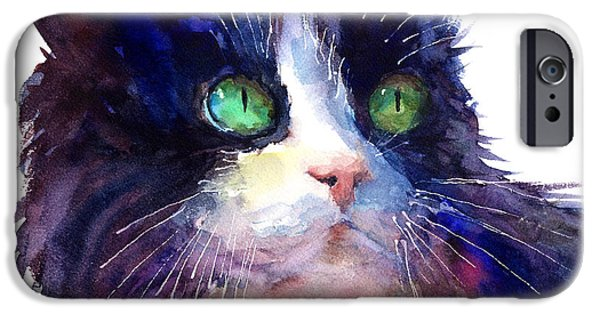 Mood Paintings iPhone Cases - Watercolor Tuxedo tubby Cat iPhone Case by Svetlana Novikova