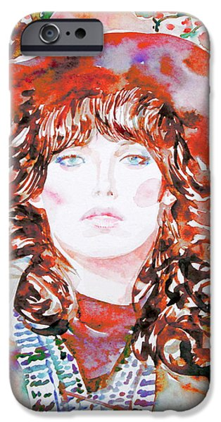 Raincoat iPhone Cases - Watercolor Woman.45 iPhone Case by Fabrizio Cassetta