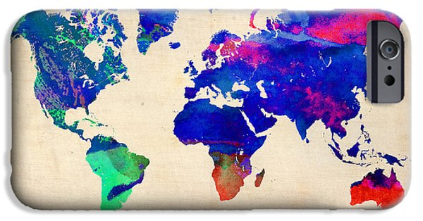 World Map Poster Digital Art iPhone Cases - Watercolor World Map 4 iPhone Case by Naxart Studio