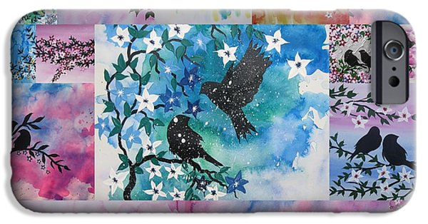 Catherine White Digital Art iPhone Cases - Watercolour Birds iPhone Case by Cathy Jacobs
