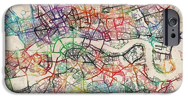 Britain iPhone Cases - Watercolour Map of London iPhone Case by Michael Tompsett
