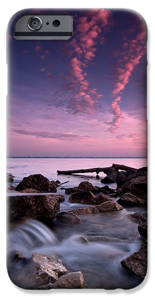 Great Lakes iPhone Cases - Waterfall at Sunrise iPhone Case by Cale Best