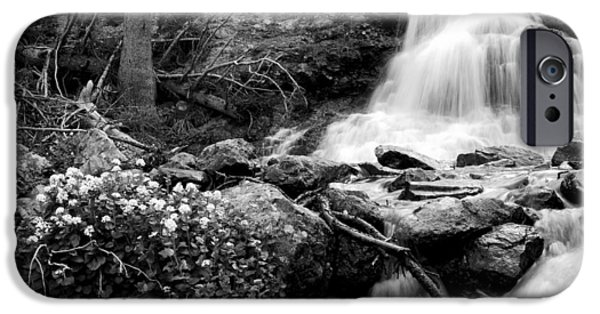 Willow Lake iPhone Cases - Waterfall Black and White iPhone Case by Aaron Spong
