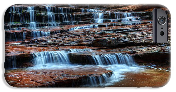 Canadian Photographer iPhone Cases - Waterfall Cascade North Creek iPhone Case by Bob Christopher