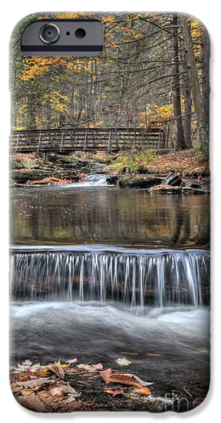 Autumn Leaf On Water iPhone Cases - Waterfall - George Childs State Park iPhone Case by Paul Ward
