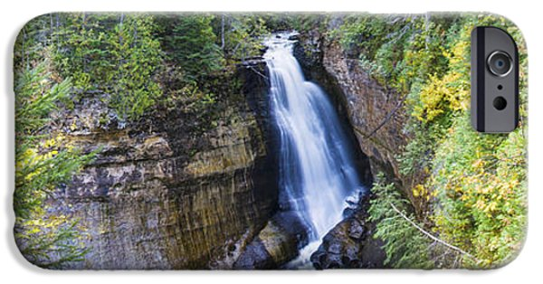 Fall Scenes iPhone Cases - Waterfall In A Forest, Miners Falls iPhone Case by Panoramic Images