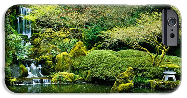 Garden Scene iPhone Cases - Waterfall In A Garden, Japanese Garden iPhone Case by Panoramic Images