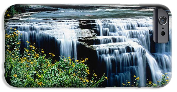 States iPhone Cases - Waterfall In A Park, Middle Falls iPhone Case by Panoramic Images