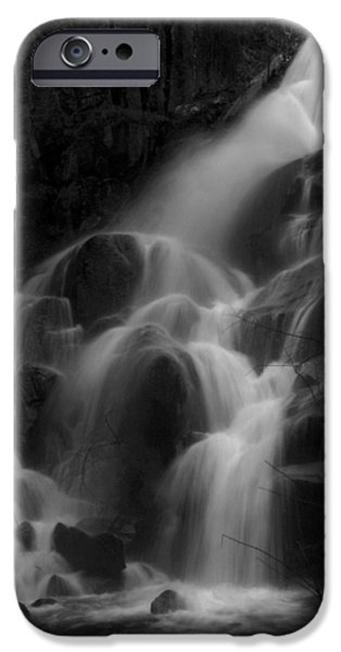 Mist iPhone Cases - Waterfall in Black and White iPhone Case by Bill Gallagher