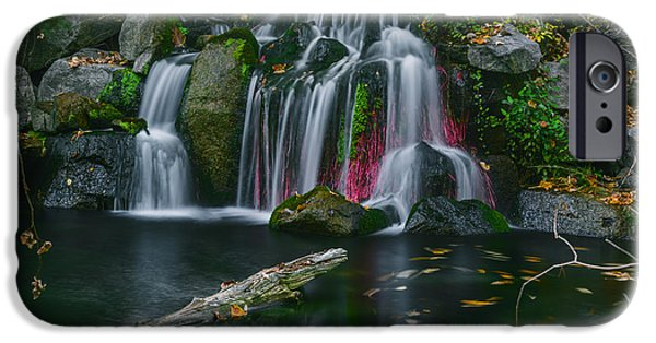 Nature Center Pond iPhone Cases - Waterfall in Boise iPhone Case by Vishwanath Bhat