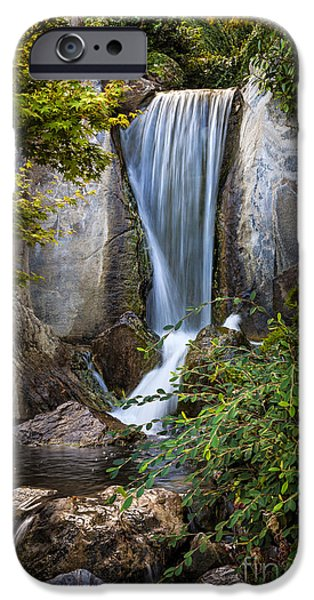 Water Flowing iPhone Cases - Waterfall in Japanese garden iPhone Case by Elena Elisseeva
