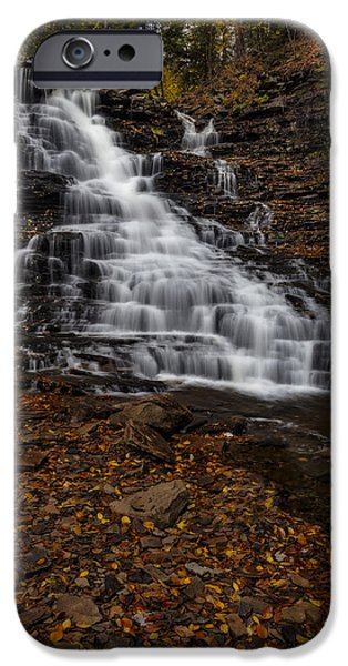 Foliage iPhone Cases - Waterfall In The Autumnal Equinox iPhone Case by Susan Candelario