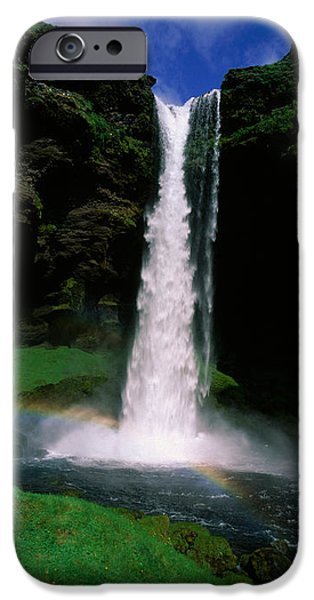 Water Flowing iPhone Cases - Waterfall In The Forest, Kvernufoss iPhone Case by Panoramic Images