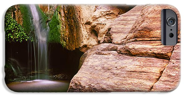 Cavern iPhone Cases - Waterfall Rushing Through The Rocks iPhone Case by Panoramic Images