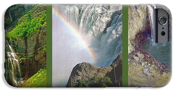 Ledge Mixed Media iPhone Cases - Waterfall Triptych iPhone Case by Steve Ohlsen