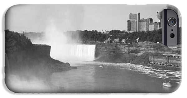 Niagara Falls iPhone Cases - Waterfall With City Skyline iPhone Case by Panoramic Images