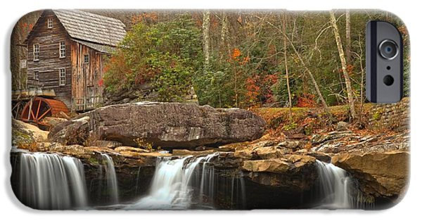 Grist Mill iPhone Cases - Waterfalling Below Glade Creek iPhone Case by Adam Jewell