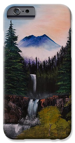 Bob Ross Paintings iPhone Cases - Waterfalls at the Glen iPhone Case by Shannon Wells