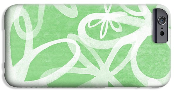 Abstract Sunflower iPhone Cases - Waterflowers- green and white iPhone Case by Linda Woods