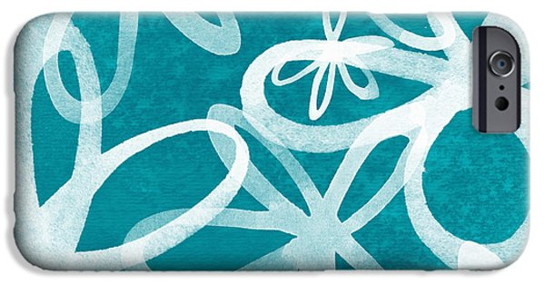 Large iPhone Cases - Waterflowers- teal and white iPhone Case by Linda Woods