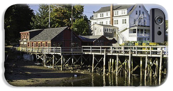 Gear iPhone Cases - Waterfront Pier in Tenants Harbor Maine iPhone Case by Keith Webber Jr