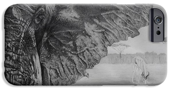 Graphite Drawing iPhone Cases - Waterhole iPhone Case by Tim Dangaran