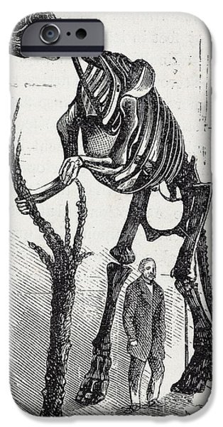 Fossil Reconstruction iPhone Cases - Waterhouse Hawkins And Hadrosaur, 1868 iPhone Case by Paul D. Stewart