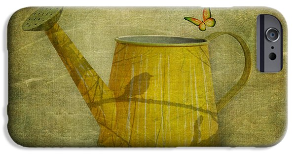 Indoor Still Life iPhone Cases - Watering Can with Texture iPhone Case by Tom Mc Nemar
