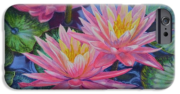 Aquatic Pastels iPhone Cases - Water Lilies 1 iPhone Case by Fiona Craig
