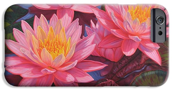 Plant iPhone Cases - Water Lilies 3 iPhone Case by Fiona Craig