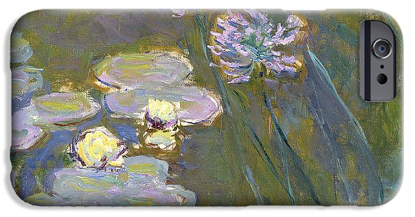 Reproduction iPhone Cases - Waterlilies and Agapanthus iPhone Case by Claude Monet