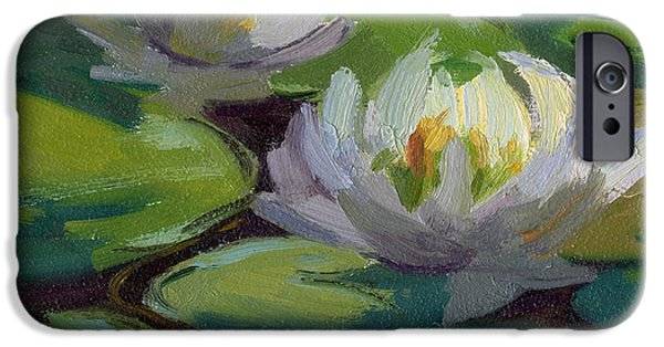 Waterlily iPhone Cases - Waterlilies at Martha Lake 1 iPhone Case by Diane McClary