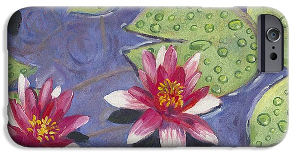 Florals iPhone Cases - Waterlilies in the Rain iPhone Case by David Lloyd Glover