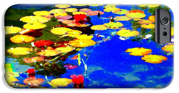 Garden Scene Paintings iPhone Cases - Waterlilies Pond Beautiful Nympheas Hommage De Monet Jardin A Giverny Water Scapes Carole Spandau iPhone Case by Carole Spandau