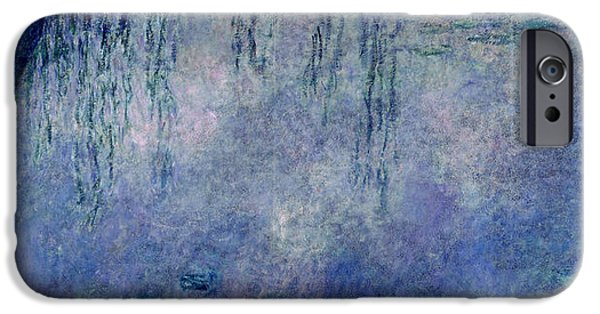 Weeping Willow Tree iPhone Cases - Waterlilies Two Weeping Willows iPhone Case by Claude Monet