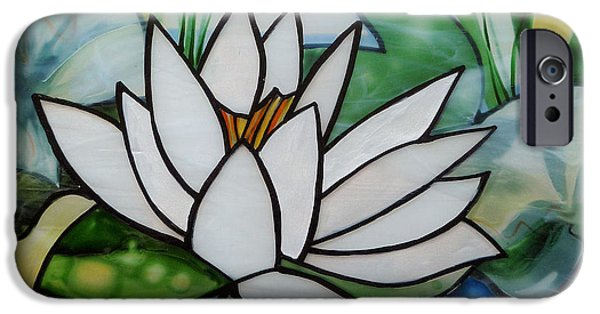 Florals Glass Art iPhone Cases - Waterlilly iPhone Case by Sharon Cox