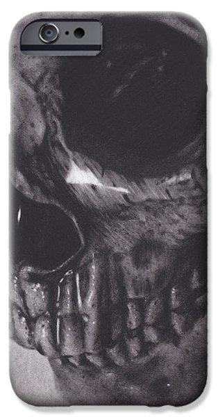 Skeleton Drawings iPhone Cases - Waterlogged Skull iPhone Case by Brittni DeWeese