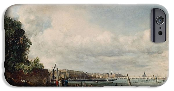 Bathing iPhone Cases - Waterloo Bridge, C.1820 Oil On Canvas iPhone Case by John Constable
