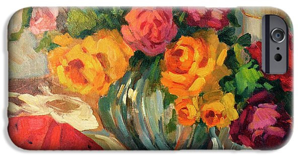 Silk iPhone Cases - Watermelon and Roses iPhone Case by Diane McClary