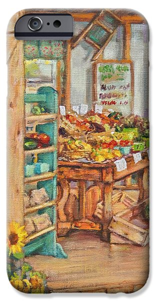 Farmstand Paintings iPhone Cases - Watermelon Farm Stand iPhone Case by Sharon Jordan Bahosh