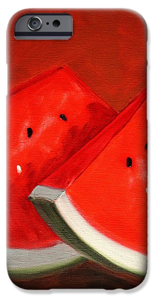 Business Paintings iPhone Cases - Watermelon iPhone Case by Nancy Merkle