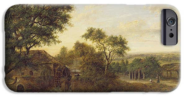 Sutton iPhone Cases - Watermill At Carshalton, 1830 Oil On Panel iPhone Case by Patrick Nasmyth