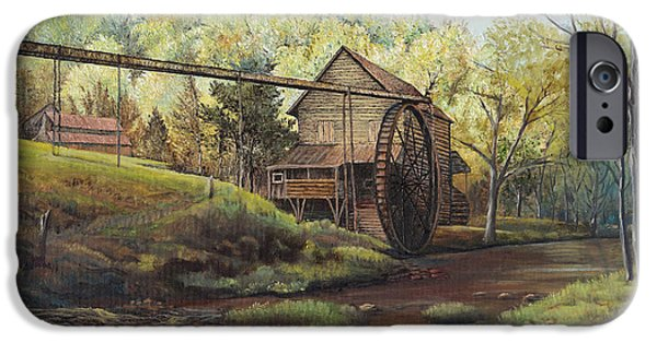Mechanics Paintings iPhone Cases - Watermill at Daybreak  iPhone Case by Mary Ellen Anderson