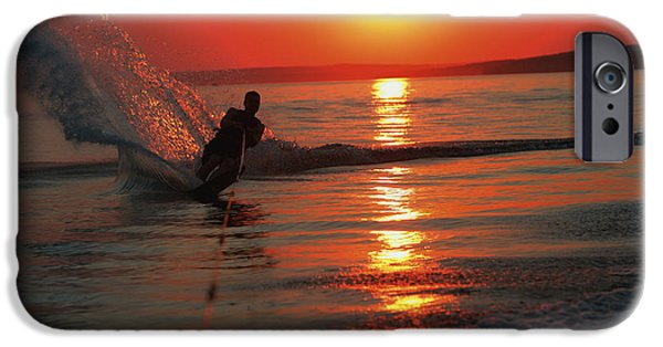 Alberta iPhone Cases - Waterskiing At Sunset iPhone Case by Misty Bedwell