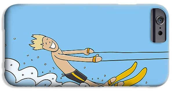Holidays iPhone Cases - Waterskiing Happy Man iPhone Case by Frank Ramspott